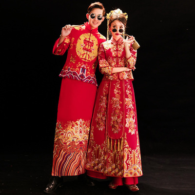 Tremble Show Wedding Dress Bride's Wedding Dress Chinese Men and Women Suit Groom Traditional Chinese Clothing