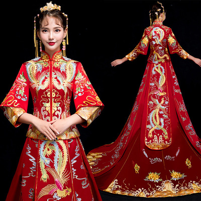 Chinese Wedding Dress Tail Show Grass Dress Bride Marriage Ancient Wedding Dress Fengguan Xiamen Dress