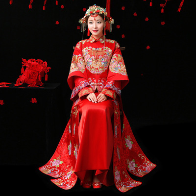 Chinese Wedding Dress Increased Bride Dress Slim Chinese Style Bride Ancient Clothes Wedding Clothes