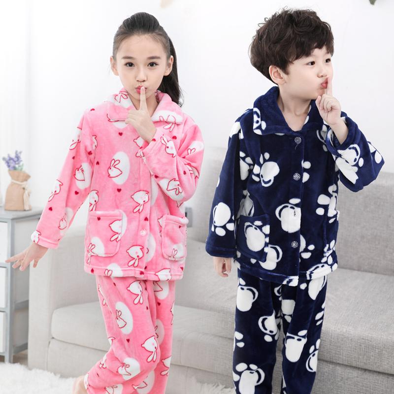 秋冬季儿童法兰绒睡衣女童宝宝男童家居服小孩加厚男孩珊瑚绒套装