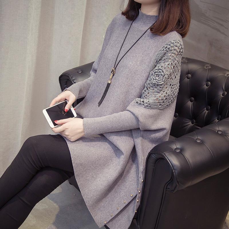 宽松风网红秋冬毛衣女2019新款外套很仙的上衣洋气慵懒套头针织衫