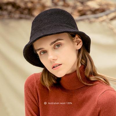 帽子女秋冬渔夫帽女韩版羊毛呢纯色百搭盆帽时尚日系针织保暖帽女