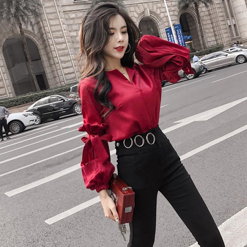 套装件套女装2018春季新款韩版女神洋气网红时尚裤子御姐两衬衫潮