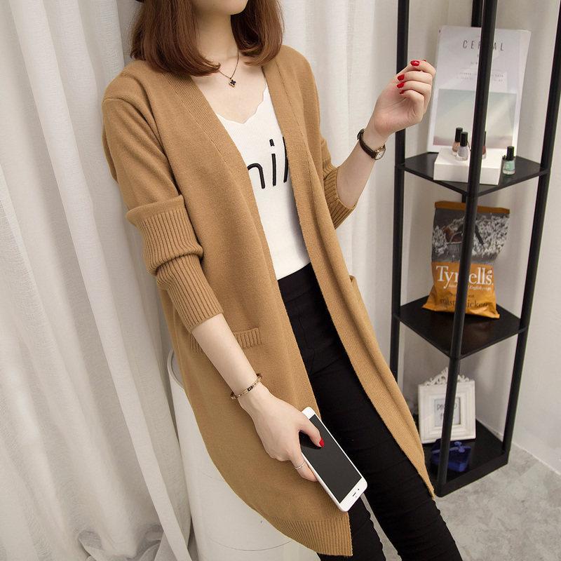 2019春季新款外套尼西装领针织毛衣双面开衫女宽松中长款时尚女装