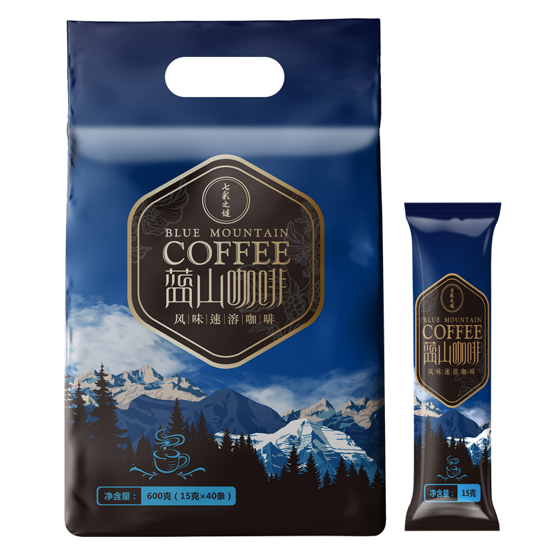 咖啡蓝山风味三合一速溶咖啡粉饮品袋装 黑咖啡袋装 学生 40条\\\/袋
