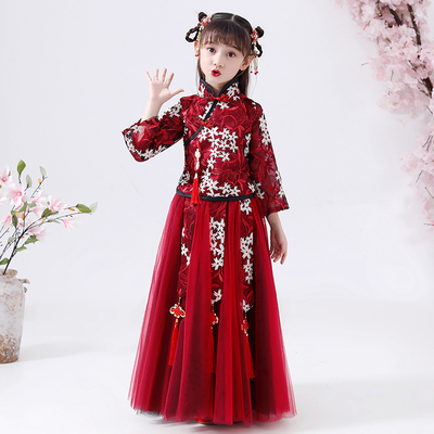 Childrens costume Chinese dress, baby Chinese dress, girls old style cheongsam, Tang dress