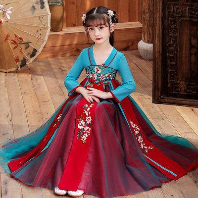 Girls ancient Chinese costume Chinese style childrens costume ancient dress childrens super fairy Tang dress Ru skirt long sleeve season