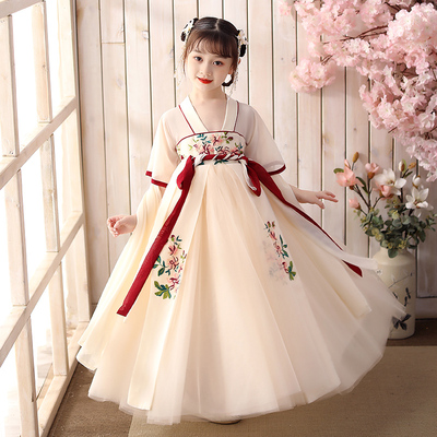 Girls ancient costume Han Fu Cherry Blossom super fairy girl Chinese style dress ancient style childrens dress fairy princess dress