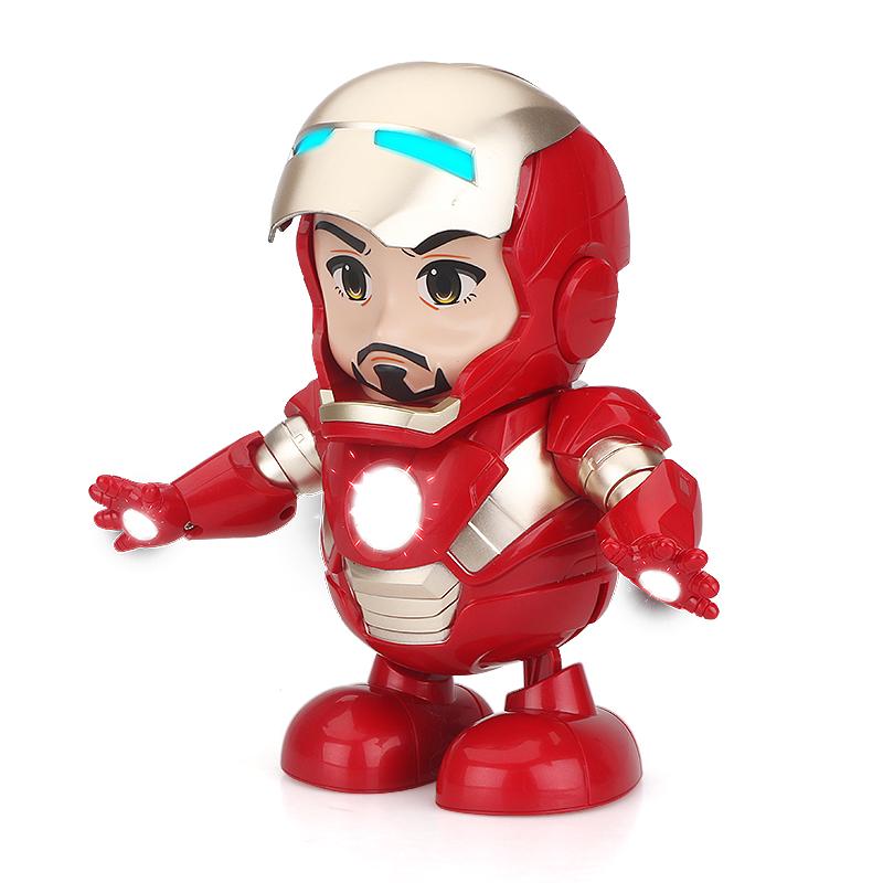 網紅同款正版授權漫威復仇者聯盟4鋼鐵俠模型擺件電動跳舞玩具1