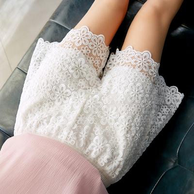 Quần ren ba điểm mùa hè cỡ lớn quần legging nữ có thể mặc quần lửng ống rộng chống chói quần an toàn - Quần short