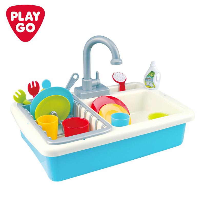 playgo贝乐高小水池洗碗机益智玩具出水男孩女孩儿童厨房过家家