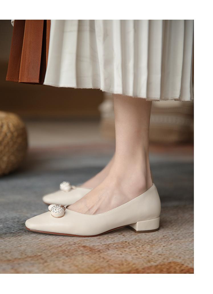iFashion女鞋訴喂瑪麗珍鞋2021新款高跟鞋晚晚風溫柔鞋粗跟真皮方頭紅色女單鞋