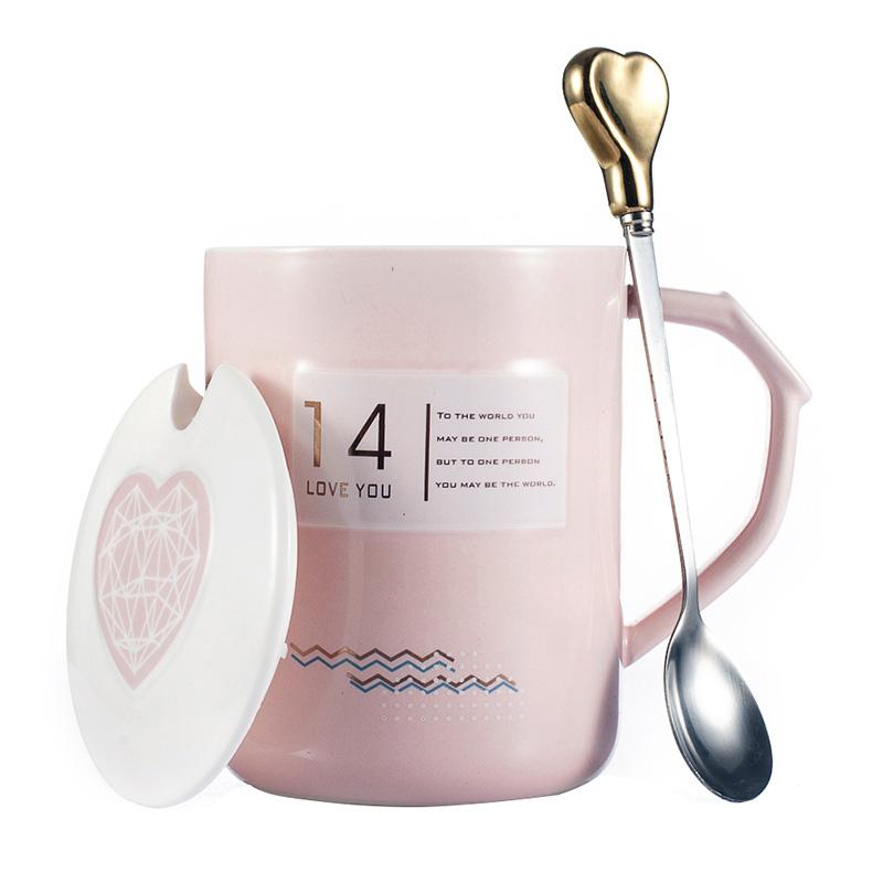 情侣杯子一对杯情侣款马克杯带盖勺结婚水杯子女陶瓷送礼物盒装-给呗网