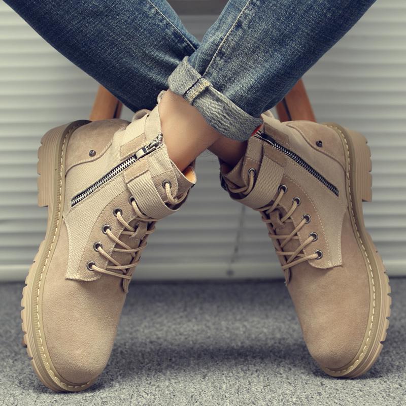 马丁靴男潮流短靴女秋季新款百搭情侣高帮工装英伦风鞋子中邦潮鞋