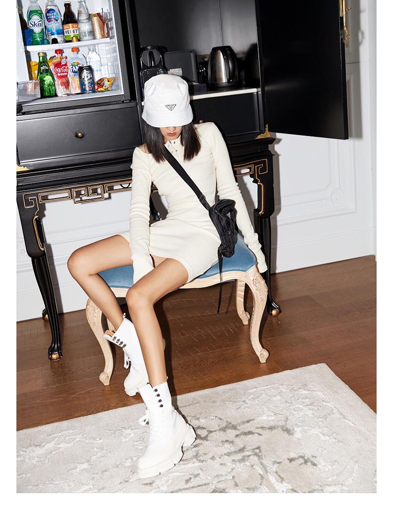 针织洋装春装年新款时尚打底长袖修身显瘦中长版毛衣裙详细照片