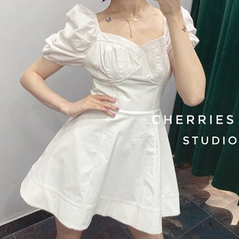 wyd cherry 2020 summer French bellflower cute puff sleeve puff skirt sweet and thin dress
