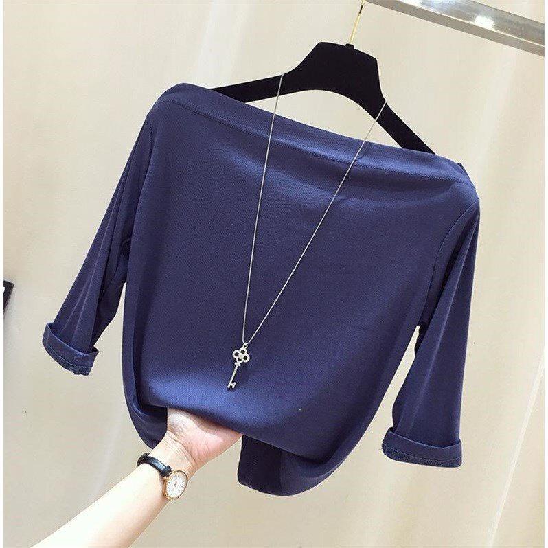 棉质一字领露肩上衣女学生韩2019春装新款体恤抖音同款七分袖t
