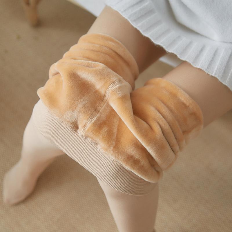 加绒打底裤女内外穿瘦腿光腿神器肉色裤袜秋裤冬季保暖踩脚一体裤