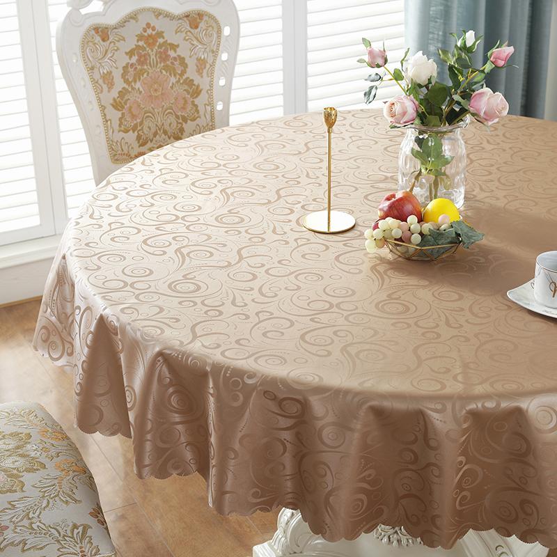 桌布防水防油免洗防烫大圆桌子家用酒店饭店定制圆形台布艺餐桌垫