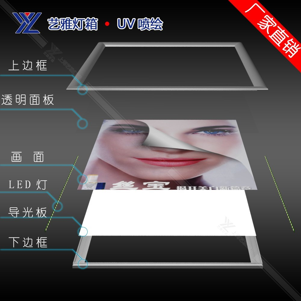 ry海报艺雅定做超薄灯箱led上海铝型材单面铝合金挂式广告牌弧形