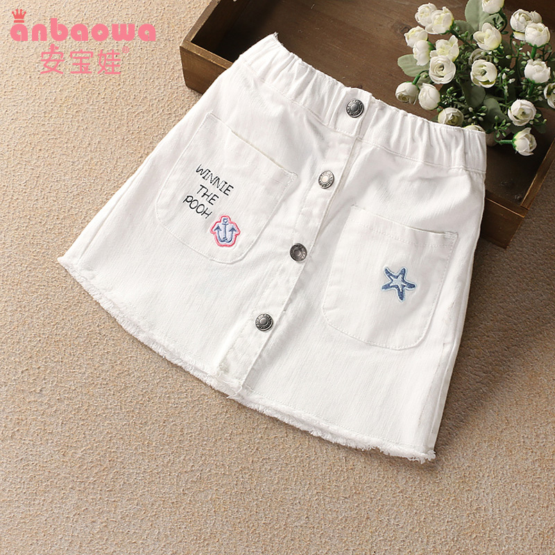 Girls skirt summer 2019 New Super-Western children's denim skirt little girl baby cotton white skirt
