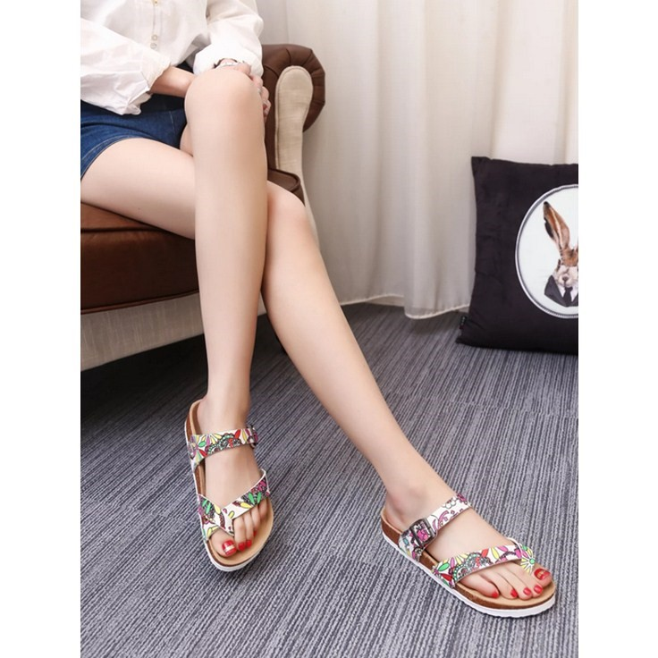 2017 summer new flip-flops men and women Korean version of the trend couple beach cork shoes casual sandals