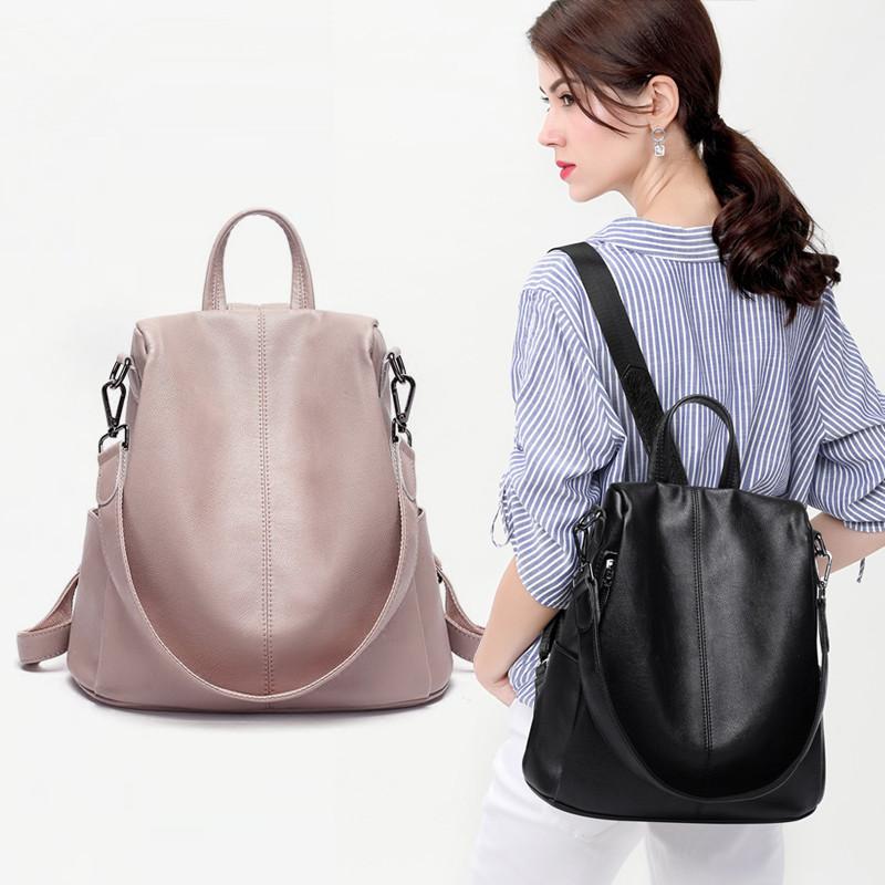 女士双肩包女2019新款韩版潮时尚百搭休闲防盗真皮软皮背包旅行包