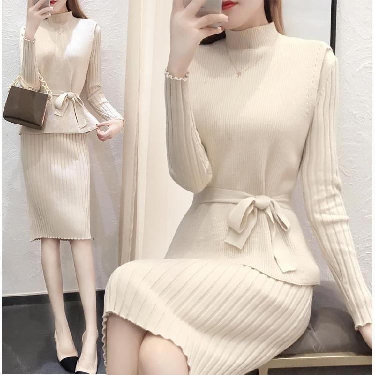 Áo len mới mùa đông phù hợp với váy liền thân nữ màu trơn áo len gió 2018 hai mảnh gói hông dày đầm - Áo len thể thao / dòng may