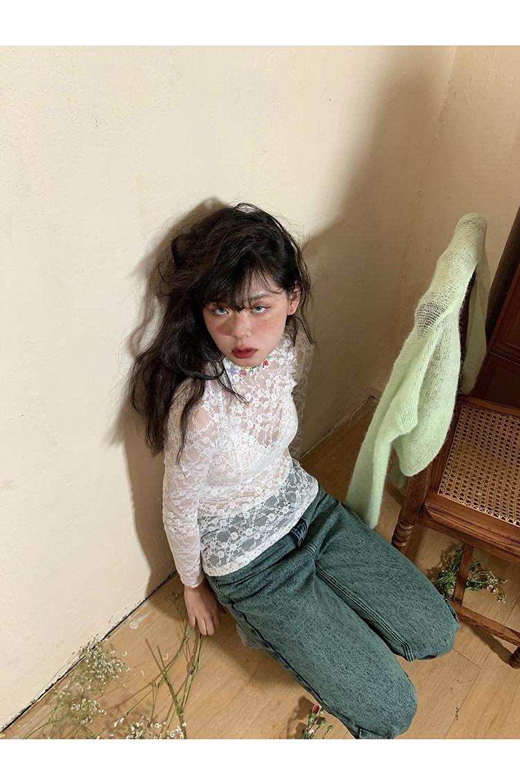 じ月光森林╮ PIT-A-PAT 2021春季潮新款花邊打底女 輕熟蕾絲修身款長袖上衣T恤衫S6D5