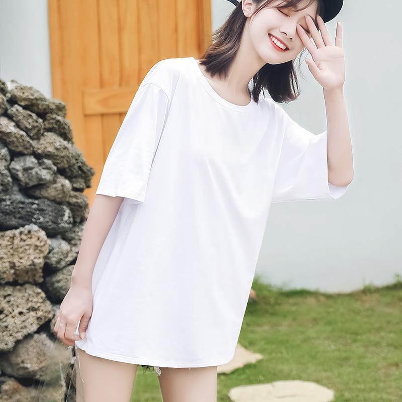 纯白色T恤女短袖宽松纯棉2019新款韩版大码黑色中长款上衣体恤夏