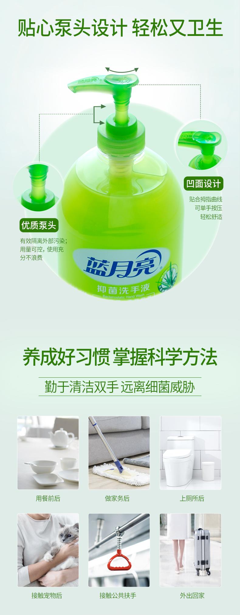蓝月亮 芦荟味抑菌消毒洗手液 500g*6瓶 图5
