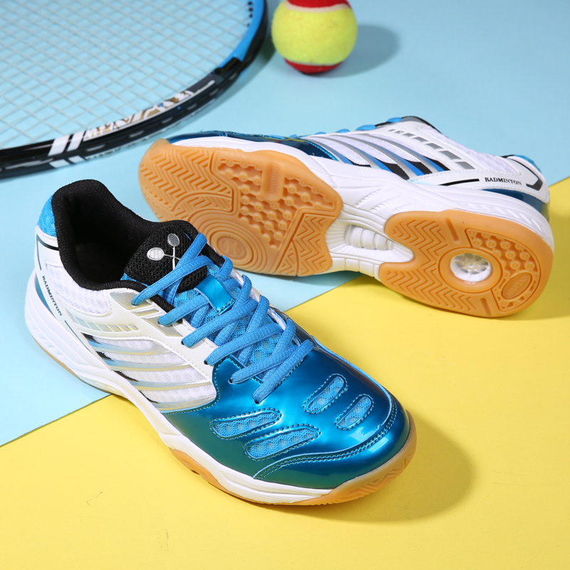 2019 new summer white and blue professional badminton shoes men and women breathable wear wear ultra-light shock-absorbing tennis shoes table tennis shoes