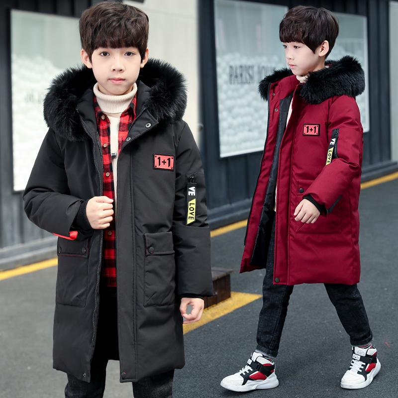 棉服男童中长款加厚冬装棉衣加棉新款羽绒修身冬款外套男孩中大童