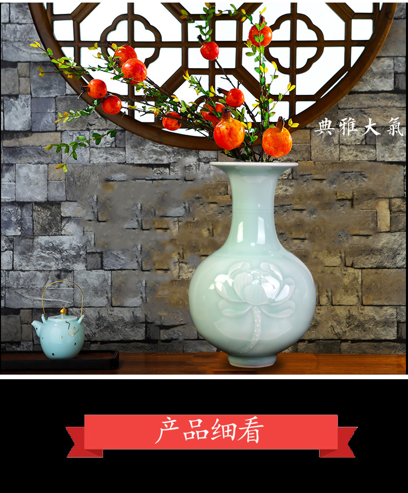Jingdezhen ceramics shadow blue its peony flower arranging floret bottle housing, I and contracted sitting room furnishings
