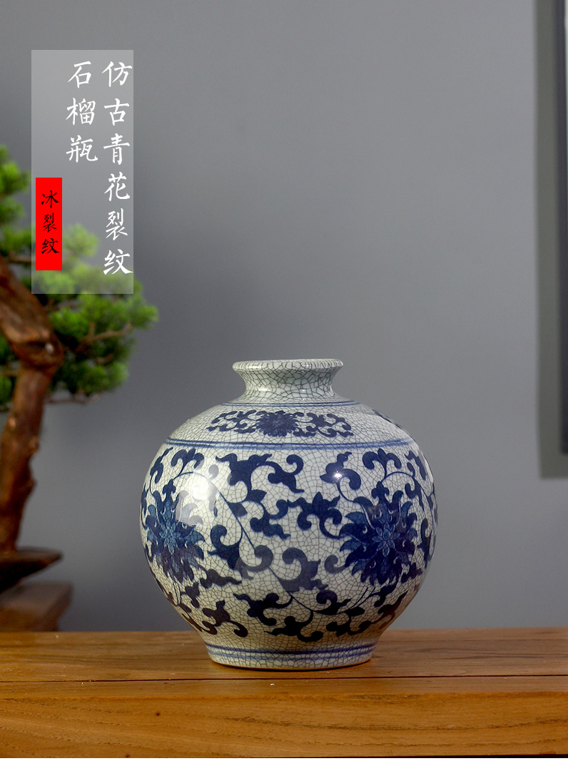 Jingdezhen ceramics glaze cracks of blue and white porcelain vase archaize up floret bottle arranging flowers sitting room mesa furnishing articles