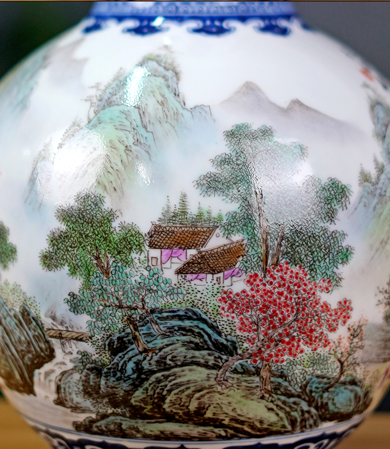 Jingdezhen ceramics masters hand draw landscape living room TV cabinet mesa vase rich ancient frame furnishing articles household act the role ofing is tasted