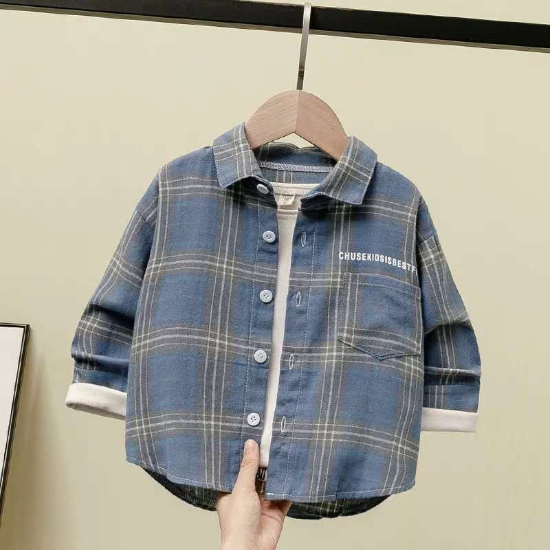 2020夏秋季新款男童衬衫中小童格子衬衣儿童装长袖棉上衣薄外套潮