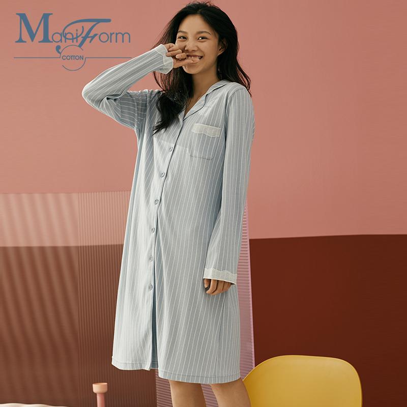 曼妮芬棉质生活蕾丝条纹几何感波浪花边印花长袖睡裙女士家居服QD