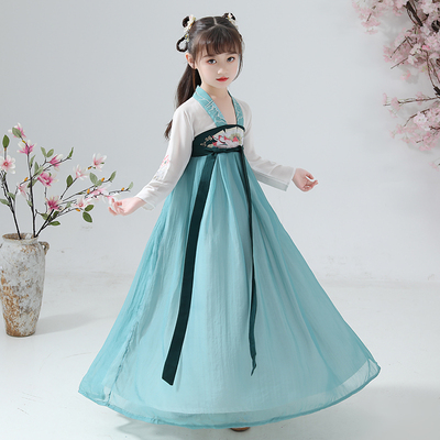Chinese Hanfu girl 12-15 years old children's ancient costume little girl ruskirt Chinese style embroidery Tang Costume Baby performance Costume