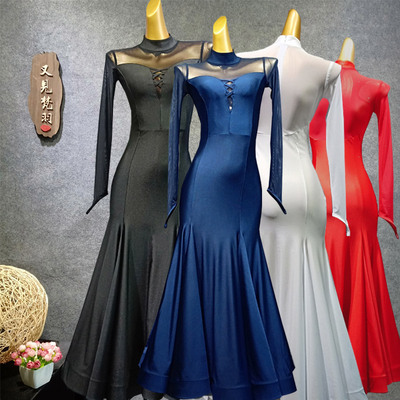 Ballroom Dance Dresses Modern Skirt Adult National Standard Dance Dress Performance Dress Mesh Waltz Skirt