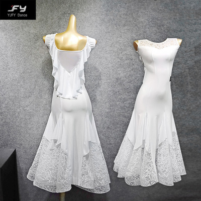 Ballroom Dance Dresses Modern Dance Skirt, Social Dance, Modern Long Skirt, Lace, Fishbone Dress