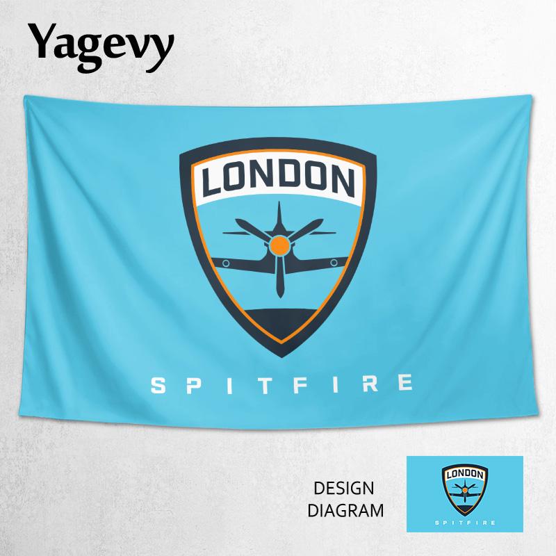Đội chiến đấu OWL London Spitfire tùy chỉnh xung quanh lá cờ hỗ trợ trang trí poster tấm thảm vải tường - Tapestry