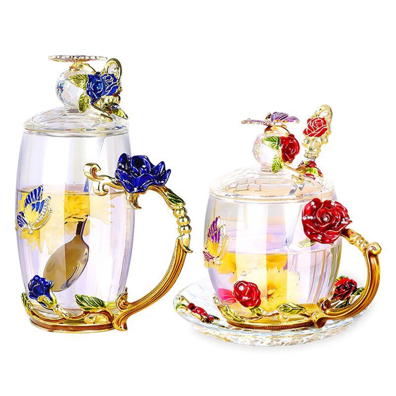 欧式珐琅彩家用养生花茶杯
