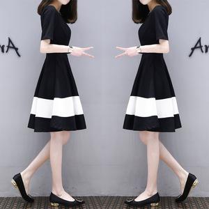 2019夏季新款韓版短袖衣服大碼中長款連衣裙女裝