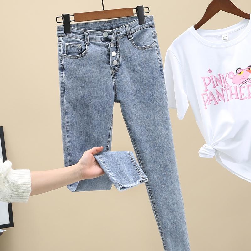 特拉诺牛仔裤女高腰显瘦2021春秋新款紧身修身百搭�弹力九分小脚裤