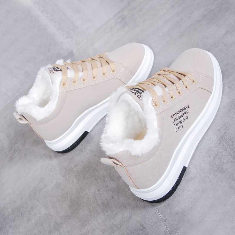单鞋2019春季女鞋2018韩版潮棉鞋a单鞋防滑厚底运动鞋冬天的学生女