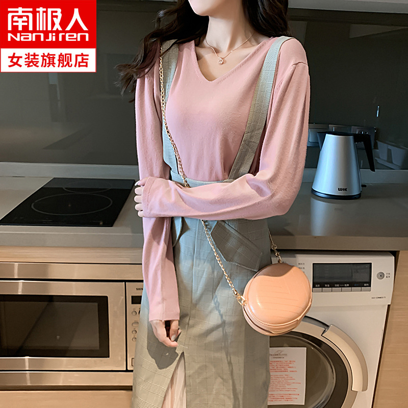 Sweater women's pullover sweater lazy 2019 New early autumn and spring loose Korean v-neck long-sleeved shirt