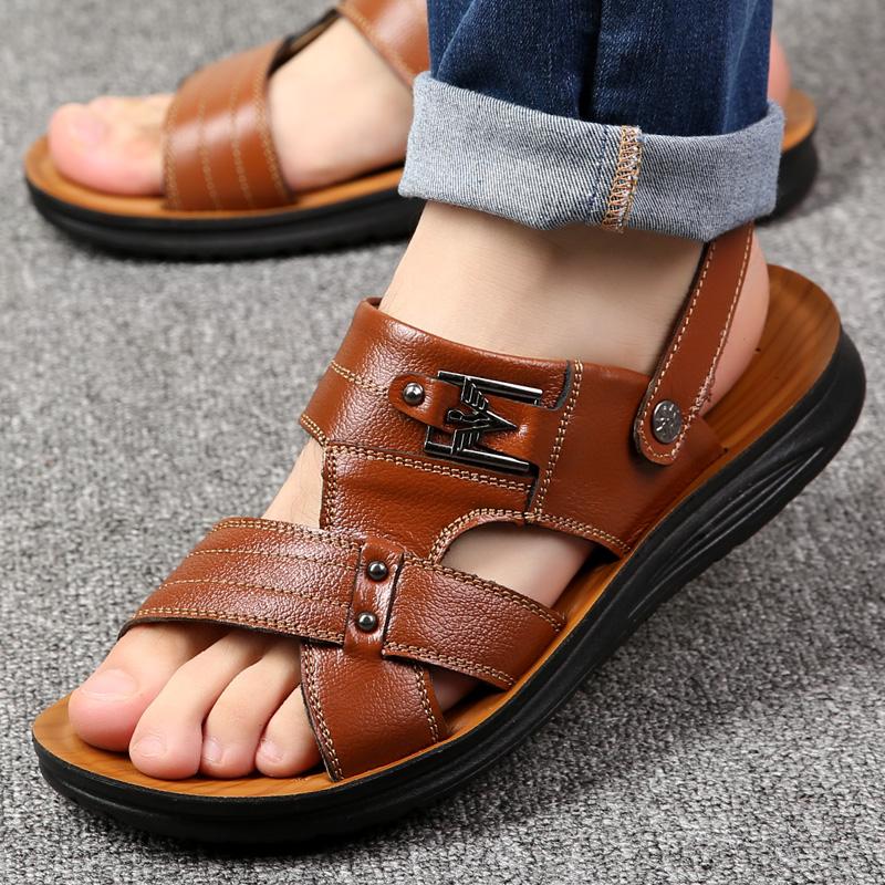 2020夏季男士凉鞋真皮休闲防滑露趾沙滩鞋男头层牛皮拖鞋青年夏鞋
