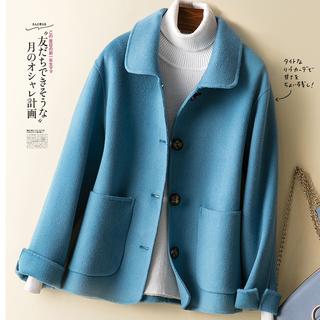 2020 год осень зима новый двойной поверхность частица для вопросительного предложения в обратных сезон кашемир пальто женщина пальто небольшой рост шерсть краткое модель кукла воротник, цена 2265 руб
