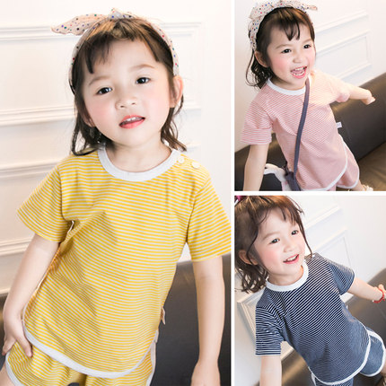 2020 new baby cotton striped short-sleeved T-shirt men and women baby western style half-sleeved shirt girls summer thin section tide
